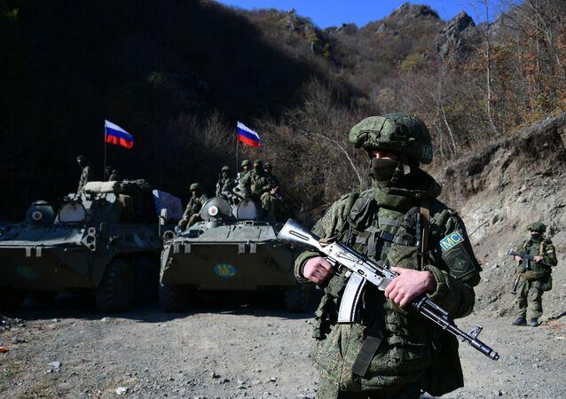 قوات حفظ السلام الروسية في منطقة ناغورني قره باغ، بعد وقف إطلاق النار بين أرمينيا و أذربيجان، 14 نوفمبر 2020