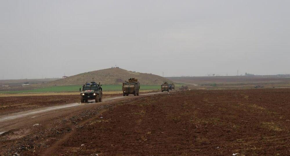رتل دورية الشرطة الروسية مع الجيش التركي في الدرباسية