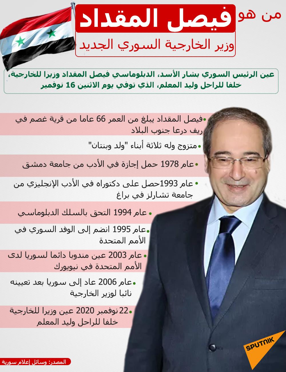 من هو فيصل المقداد وزير الخارجية السوري الجديد