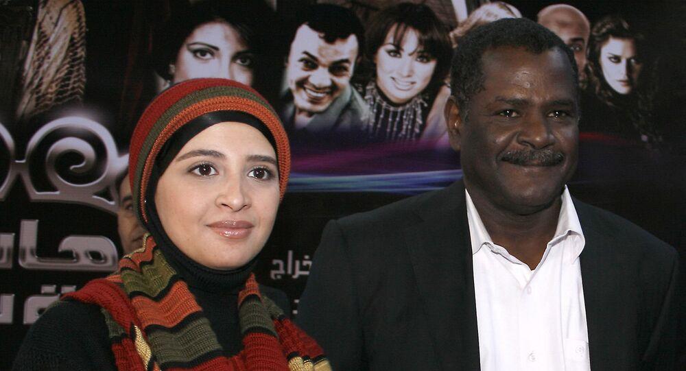 الفنانة المصرية، حنان ترك، مع المخرج، سعيد حامد، في اليوم الأول من تصوير مسلسل هانم بنت باشا، 2009