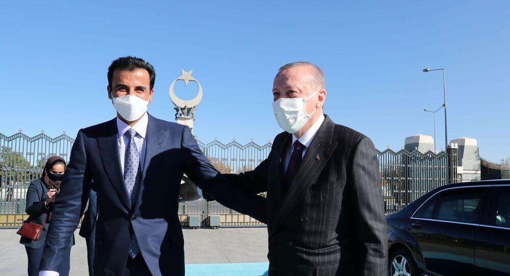 الرئيس التركي، رجب طيب أردوغان، يلتقي أمير قطر، الشيخ تميم بن حمد آل ثاني، في أنقرة، تركيا، 26 نوفمبر/ تشرين الثاني 2020