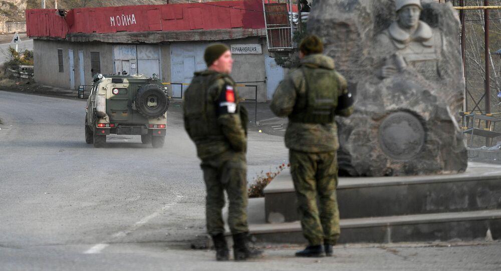 قوات حفظ السلام الروسية في مدينة لاتشين في منطقة ناغورني قره باغ، 1 ديسمبر 2020