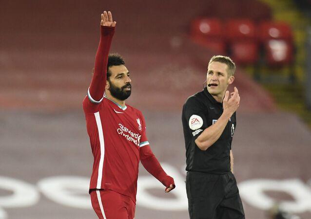محمد صلاح خلال مباراة ولفرهامبتون بالدوري الإنجليزي
