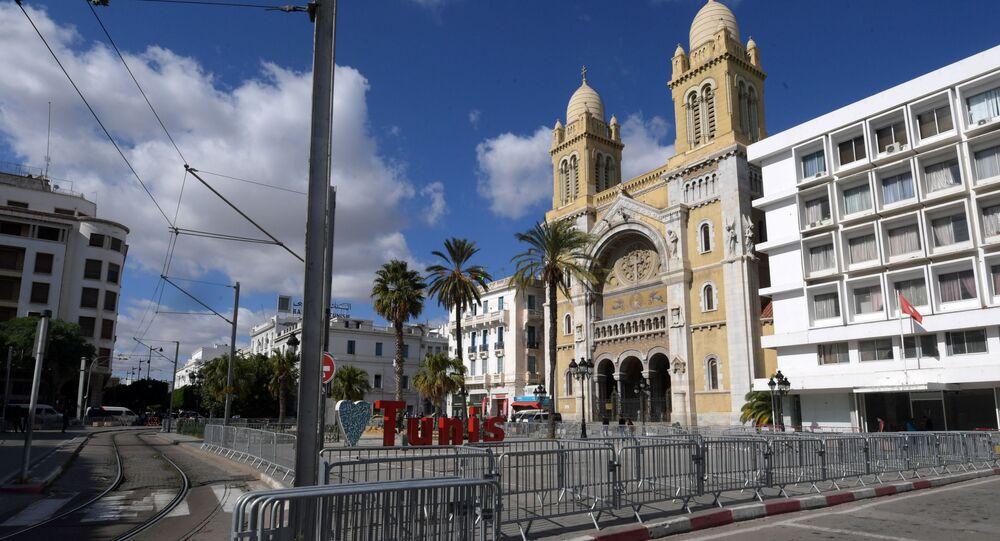 صورة تم التقاطها في 29 أكتوبر 2020 بالعاصمة التونسية تونس ، تظهر كاتدرائية القديس فنسنت دي بول