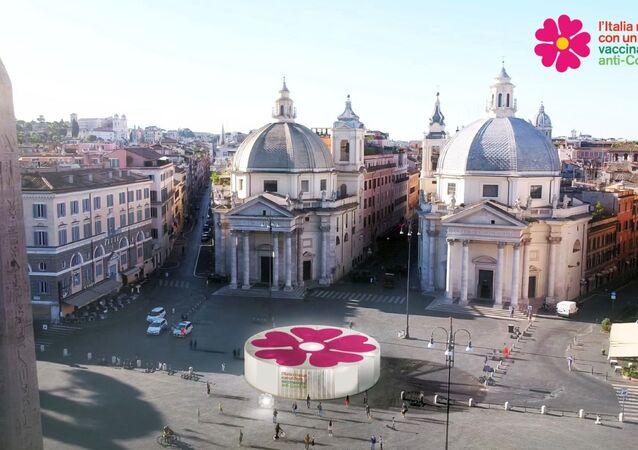 مراكز على هيئة زهرة الربيع في الساحات لتوزيع اللقاح الواقي من فيروس كورونا في إيطاليا