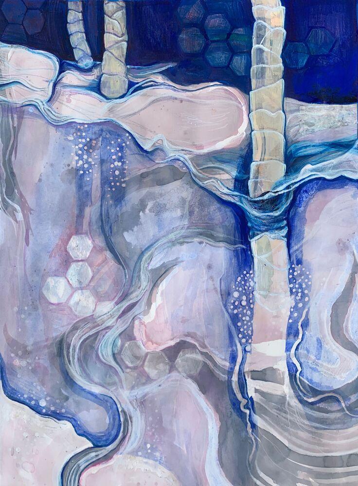 صورة بعنوان خيوط من مضادات المعنى (صورة لفن تجريدي للميكروبات البشرية، والتي تعتبر المادة الوراثية الجماعية لجميع الميكروبات التي تعيش داخل جسم الإنسان وعلى جسمه). للعالم الأمريكي رايلي كاتلر، الفائز في فئة التصوير الدقيق المفتوح - العام بمسابقة جوائز أغار لعام 2020