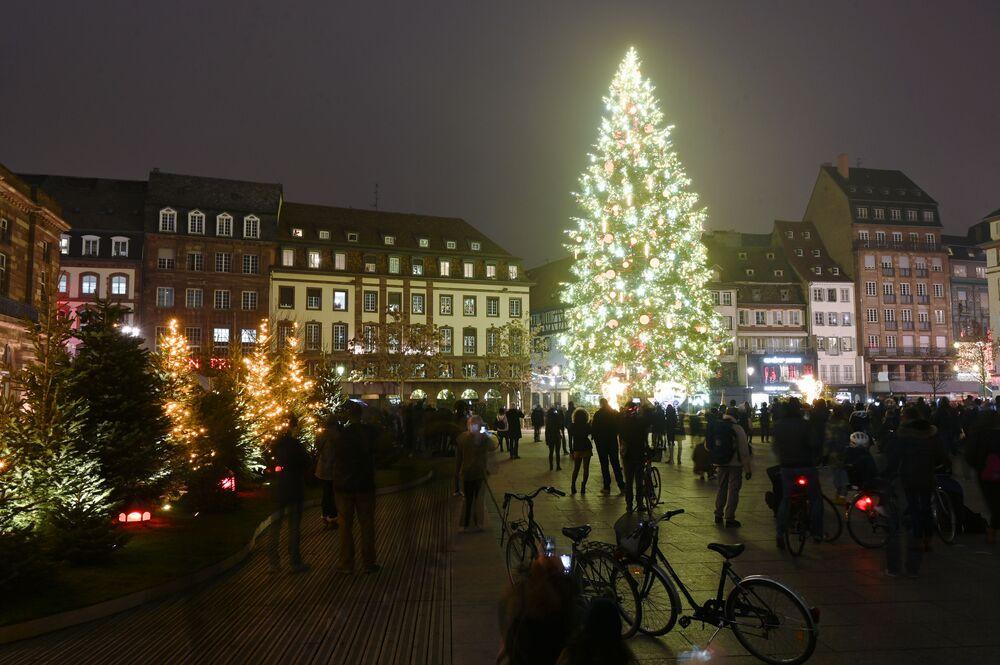 شجرة عيد الميلاد على الساحة الرئيسية في مدينة ستراسبورغ، فرنسا 27 نوفمبر 2020