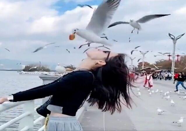 سياح يطعمون الطيور من أفواههم