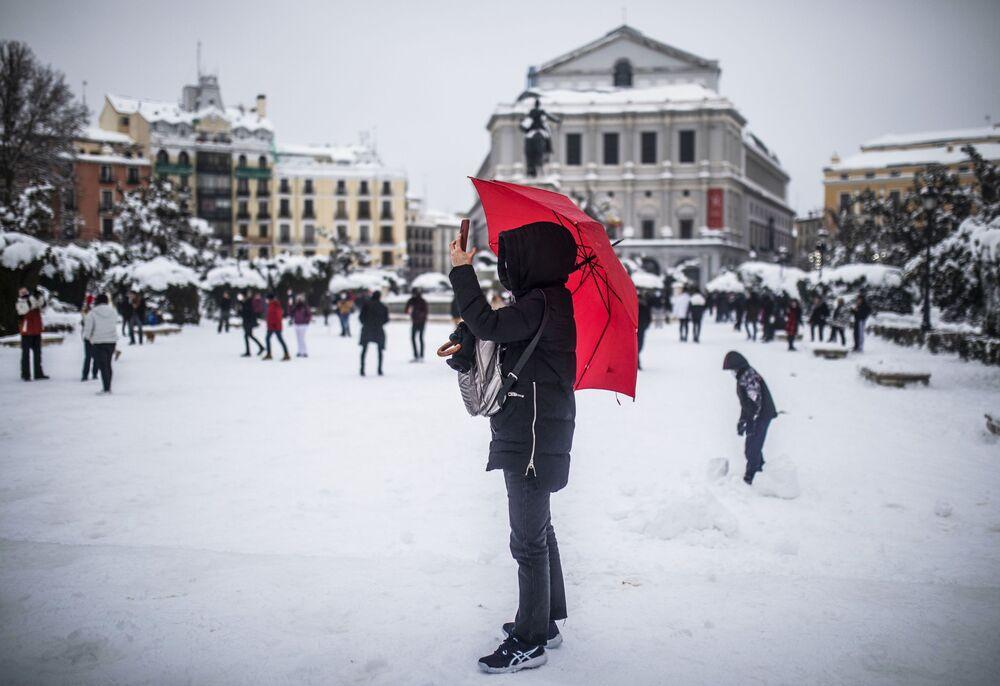 أقوى عاصفة ثلجية في مدريد منذ 80 عاما، إسبانيا 9 يناير 2021