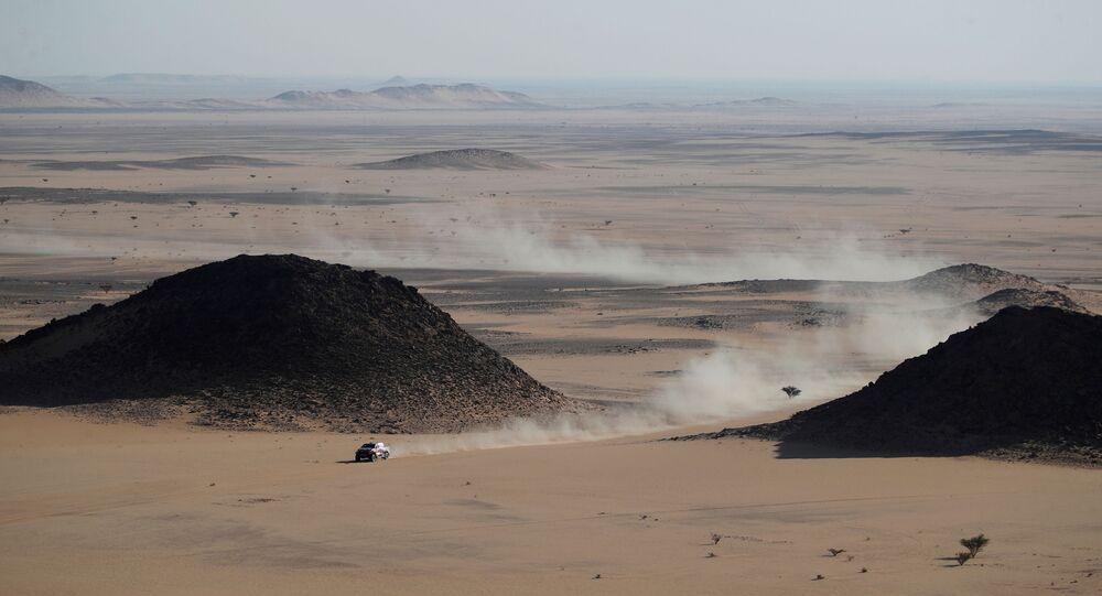 منظر عام لوادي الدواسر، خلال المرحلة الثالثة من سباق رالي داكار السعودية 2021، 5 يناير 2021