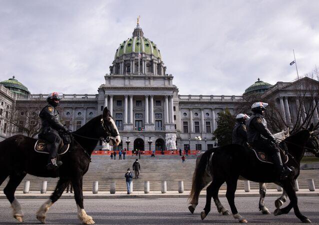 التحضيرات لمراسم تنصيب الرئيس المنتخب الأمريكي جو بايدن رئيسا للبلاد، واشنطن، الولايات المتحدة 17 يناير 2020