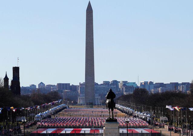 واشنطن قبل تنصيب الرئيس المنتخب جو بايدن ونائبة الرئيس كامالا هاريس، الولايات المتحدة 19  يناير 2021