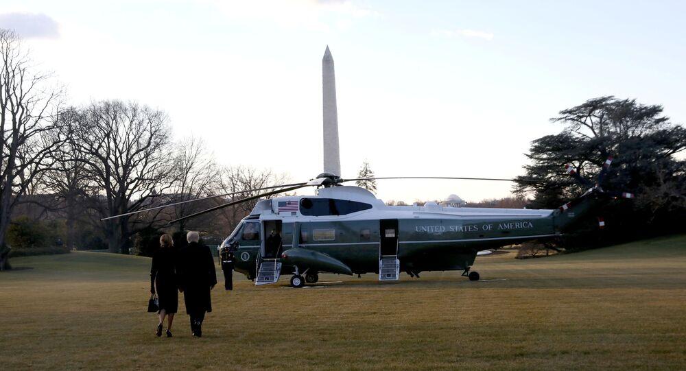 الرئيس الأمريكي المنتهية ولايته، دونالد ترامب يودع واشنطن، 20 يناير 2021