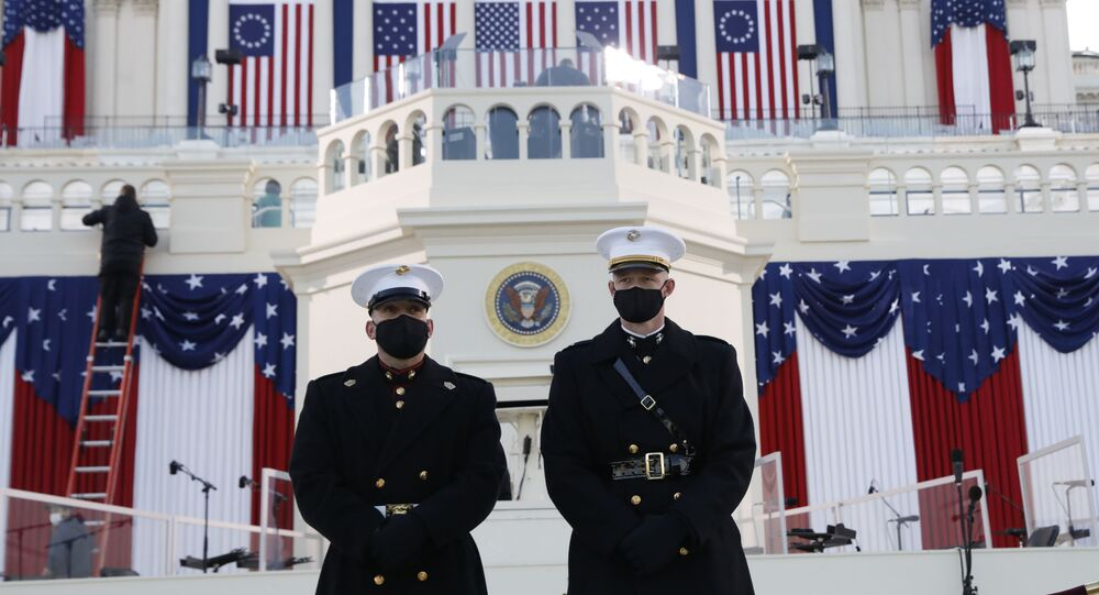 واشنطن قبل تنصيب الرئيس المنتخب جو بايدن ونائبة الرئيس كامالا هاريس، الولايات المتحدة 20 يناير 2021