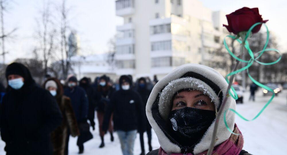 مظاهرات في مدينة يكاترنبورغ يوم 23 يناير/كانون الثاني