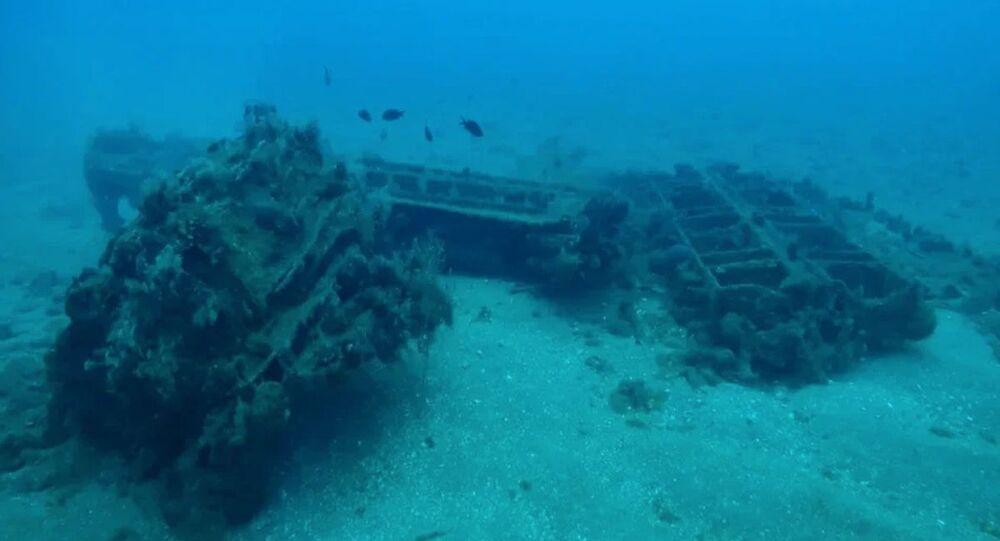 علماء من جامعة ولاية سيفاستوبول يكتشفون أطلال ميناء روماني قديم في مياه طرطوس السورية، بقايا الأسوار الدفاعية القديمة لجزيرة أرفارد.