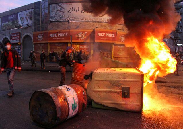 احتجاجات في طرابلس، لبنان 26 يناير 2020
