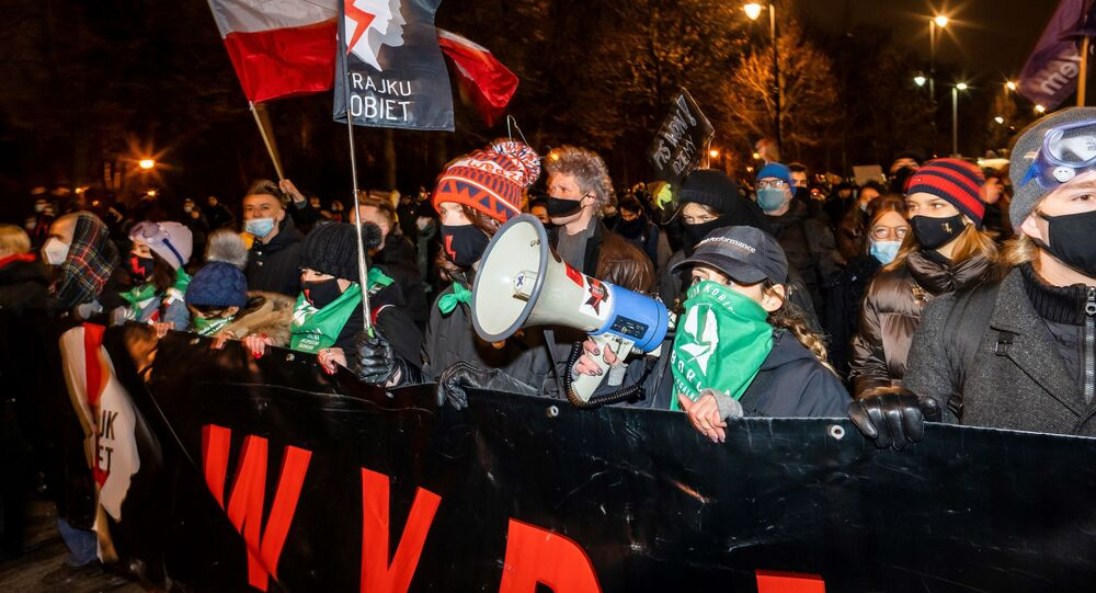 احتجاجات في وارسو ضد قانون الإجهاض الجديد، بولندا  27 يناير 2021