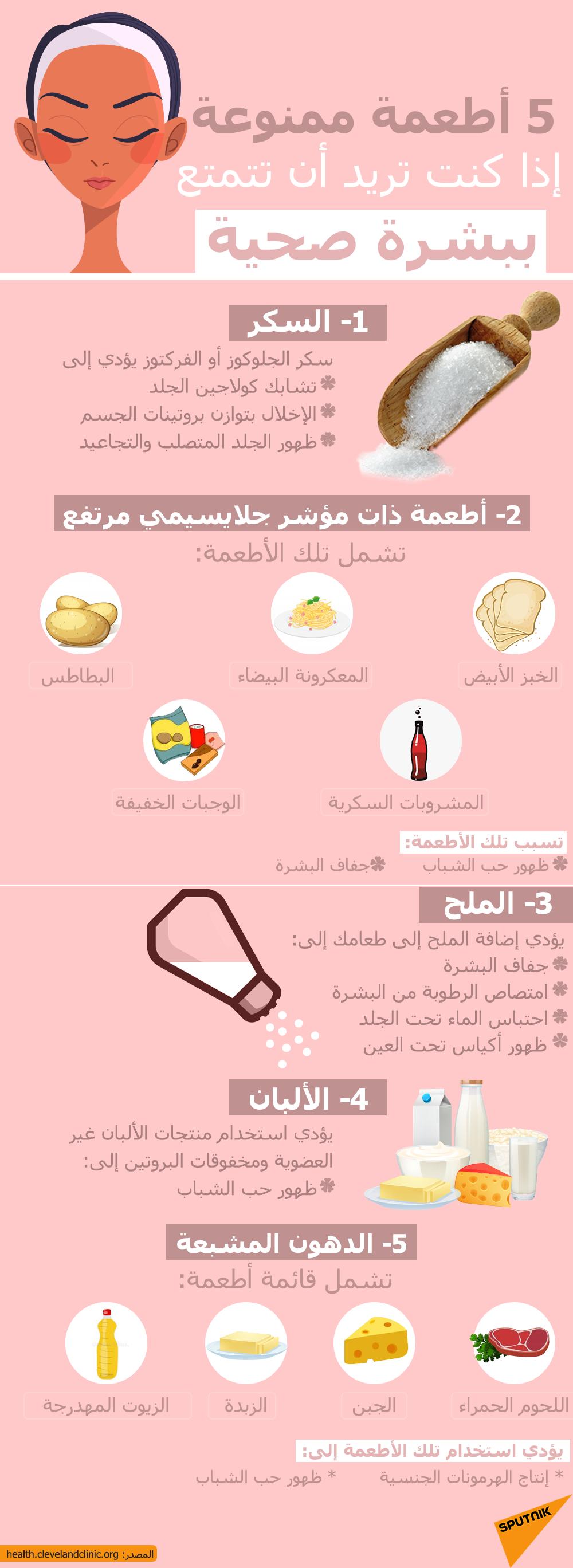 5 أطعمة ممنوعة إذا كنت تريد أن تتمتع ببشرة صحية