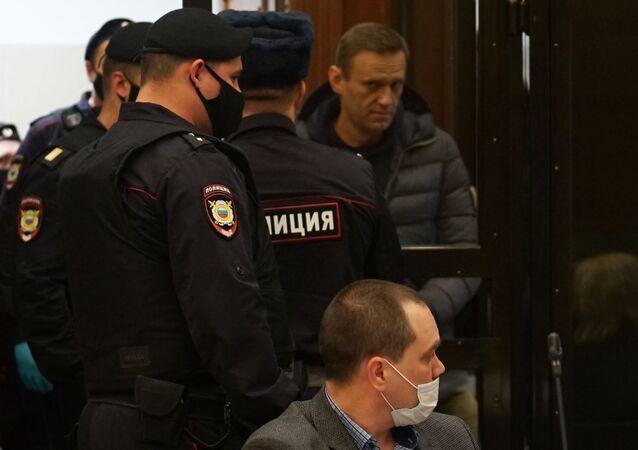 المعارض الروسي المحتجز أليكسي نافالني، محمكة موسكو، روسيا 2 فبراير 2021