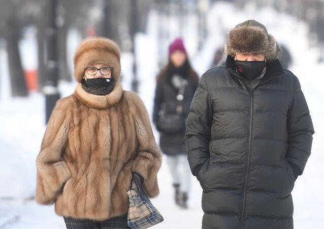 البرد القارص في موسكو، روسيا