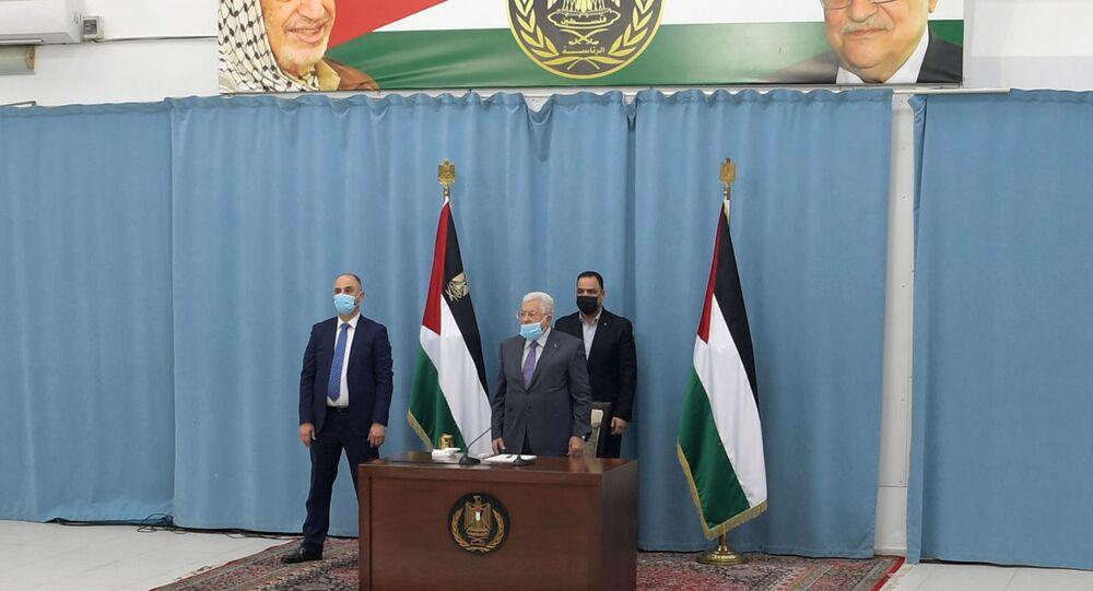 رئيس السلطة الفلسطينية محمود عباس، رام الله، الضفة الغربية، فلسطين يناير 2021