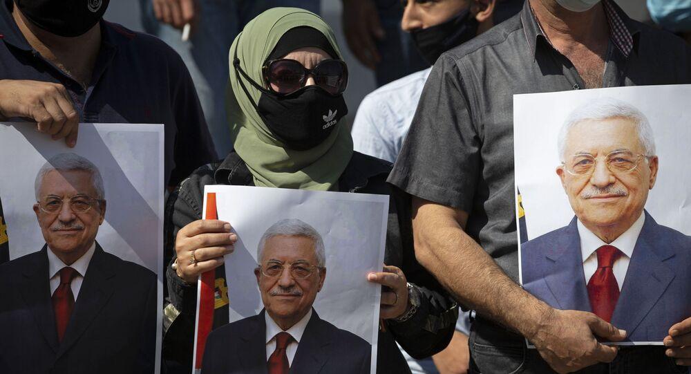رئيس السلطة الفلسطينية محمود عباس، حركة فتح، بلدة طوباس، الضفة الغربية، فلسطين، سبتمبر 2020