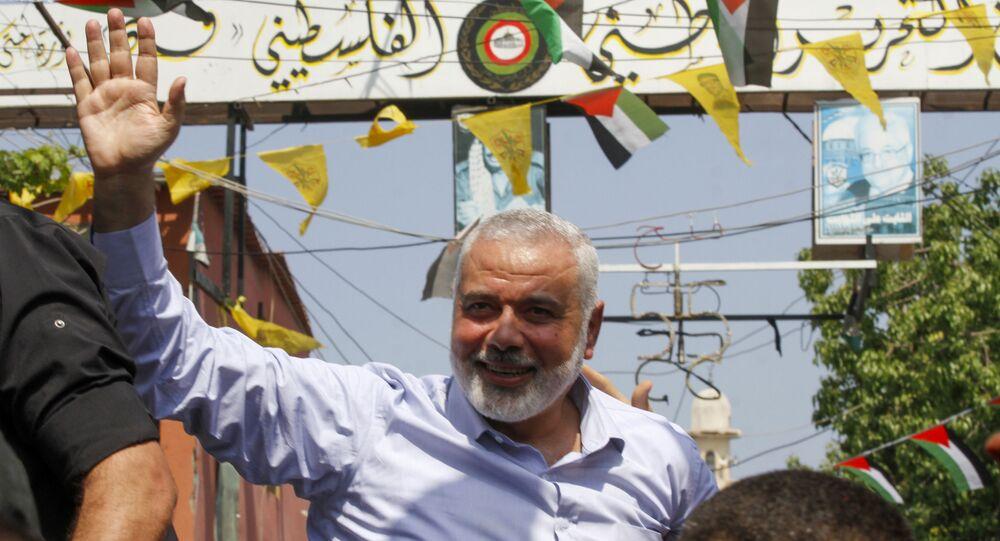 رئيس المكتب السياسي لحركة حماس إسماعيل هنية، مخيم عين الحلوة، لبنان 6 سبتمبر 2020