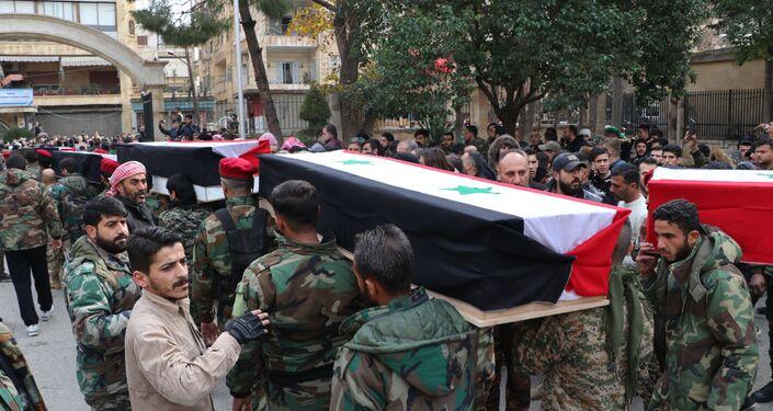 تشييع 12 جنديا قضوا خلال اشتباكات مع داعش، حلب، سوريا 4 فبراير 2021