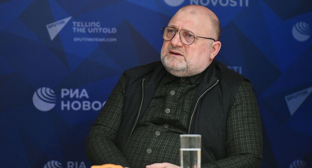 نائب رئيس الحكومة الشياشنية جامبولاط أوماروف في حوار مع سبوتنيك عربي في موسكو، روسيا 9 فبراير 2021