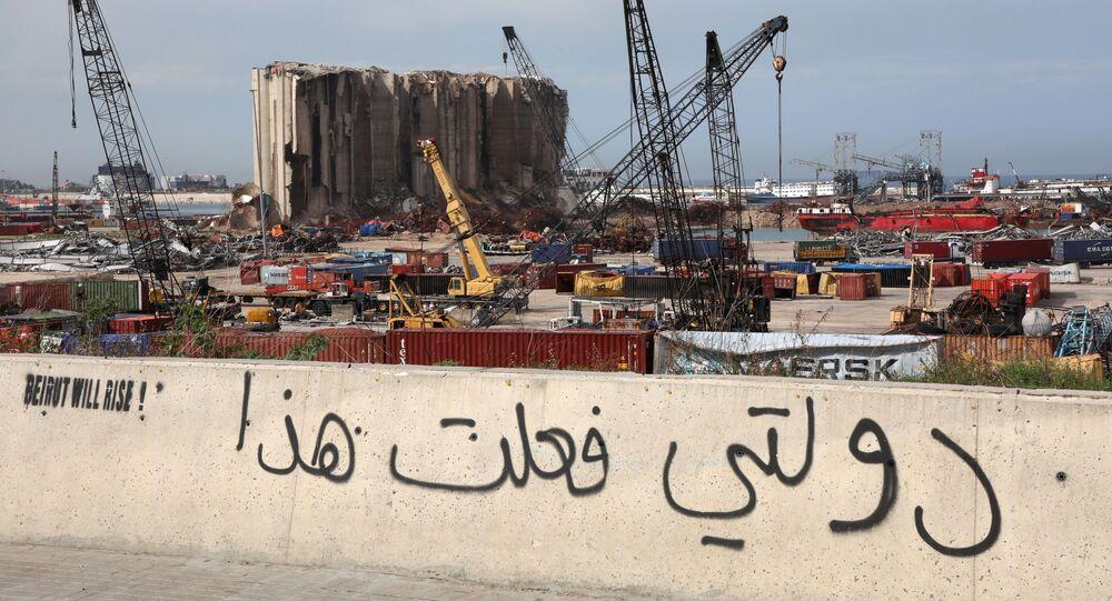 منظر يطل على مرفأ بيروت، مدينة بيروت، لبنان4  فبراير 2021