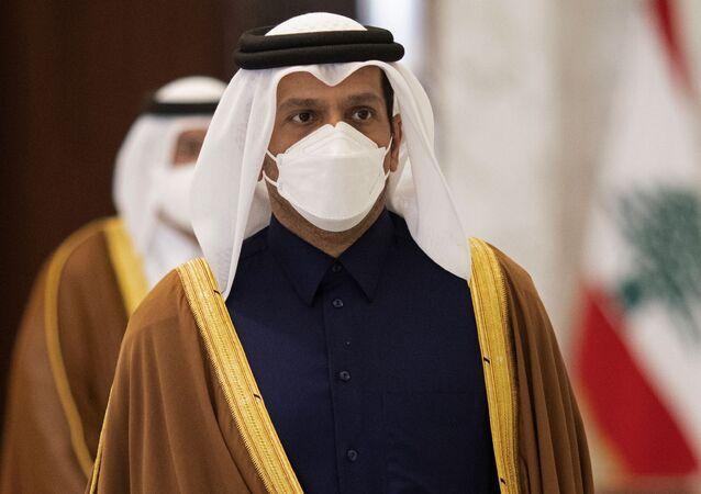 وزير الخارجية القطري الشيخ محمد بن عبدالرحمن آل ثاني في بيروت، لبنان 9 فبراير 2021