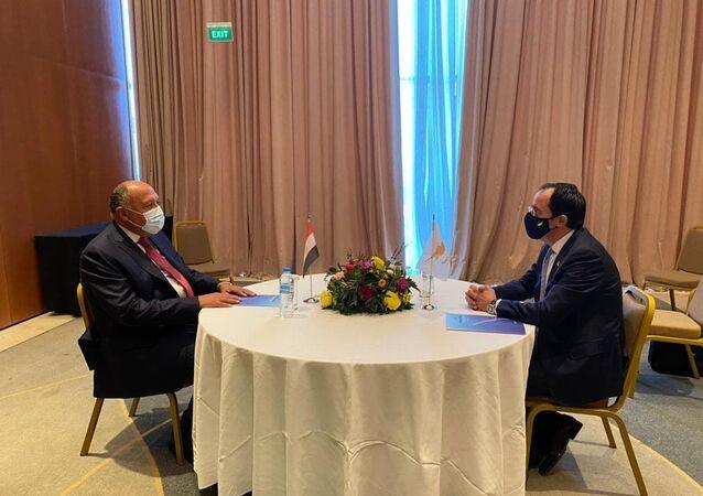 لقاء وزير الخارجية المصري سامح شكري مع وزير الخارجية القبرصي في العاصمة اليونانية أثينا