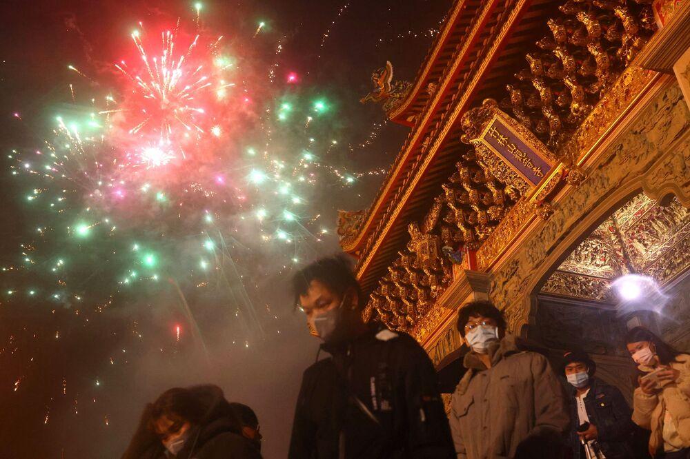 احتفالات حول العالم برأس السنة الصينية (القمرية) الجديدة - تايبيه، تايوان 12 فبراير 2021