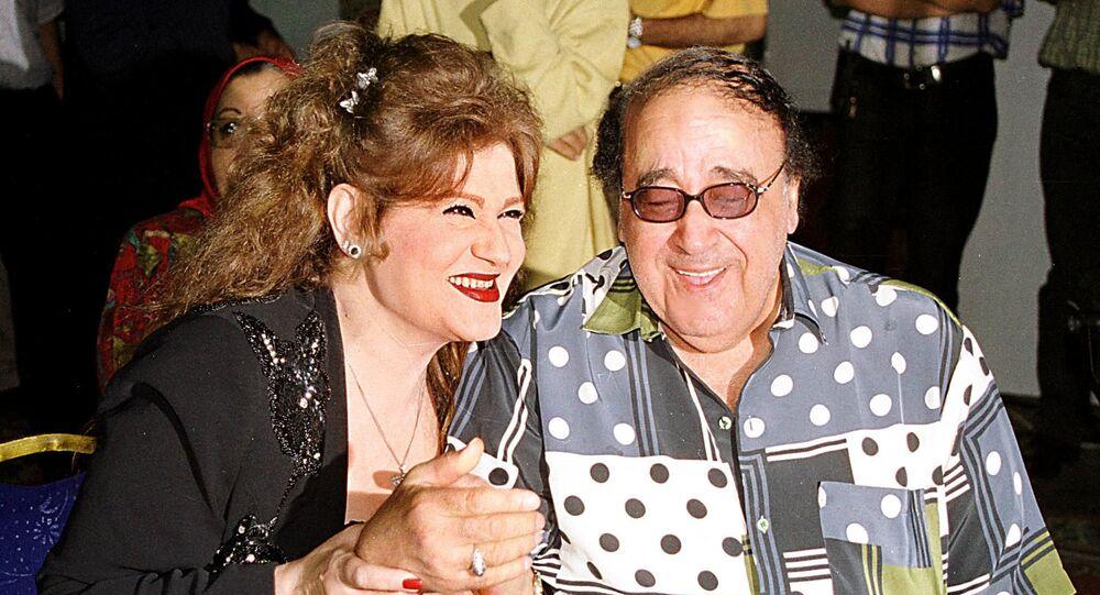 الفنانة المصرية، ميمي جمال، مع زوجها الفنان الراحل، حسن مصطفى