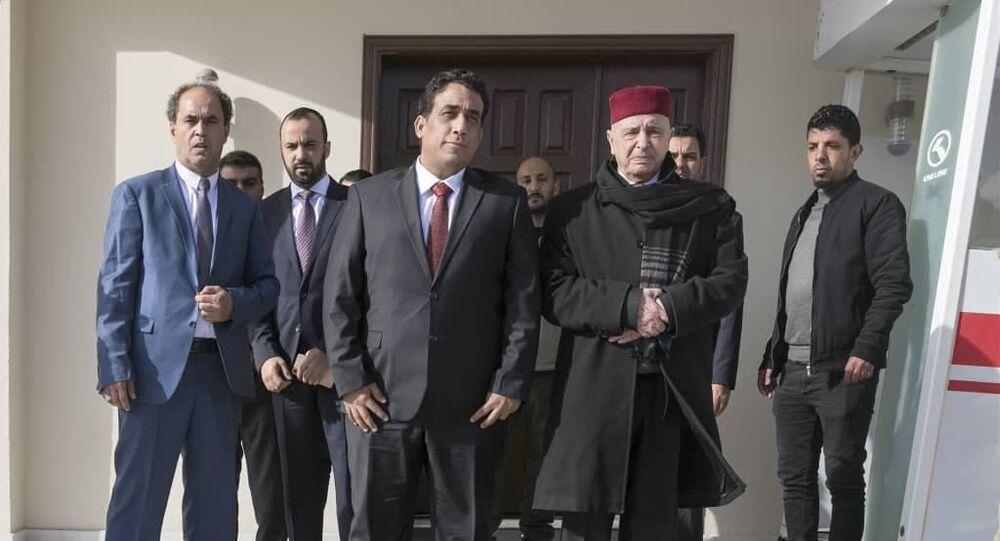 عقيلة صالح ورئيس المجلس الرئاسي الليبي محمد المنفي في البيضاء
