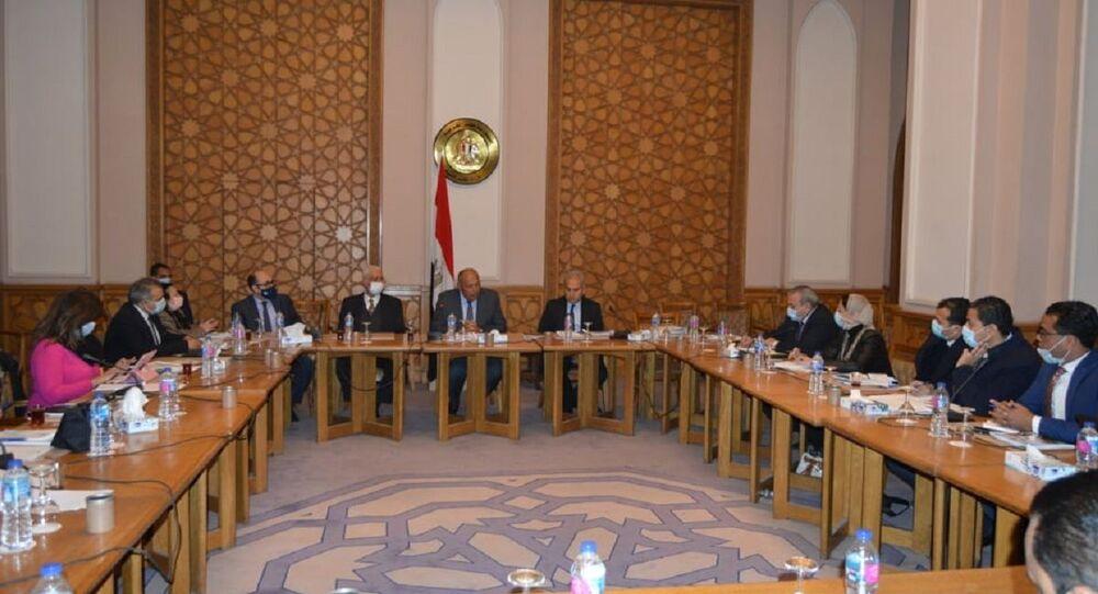 لقاء وزير الخارجية المصري سامح شكري بالصحفيين بمقر الوزارة