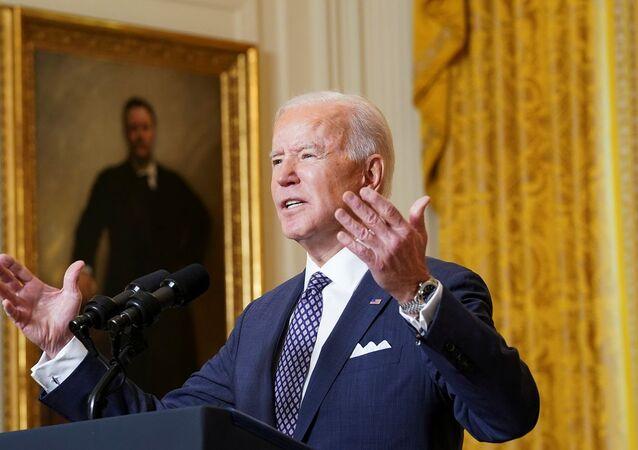 الرئيس الأمريكي، جو بايدن، يشارك في حدث افتراضي لمؤتمر ميونيخ للأمن من البيت الأبيض في العاصمة الأمريكية واشنطن، 19 فبراير/ شباط 2021