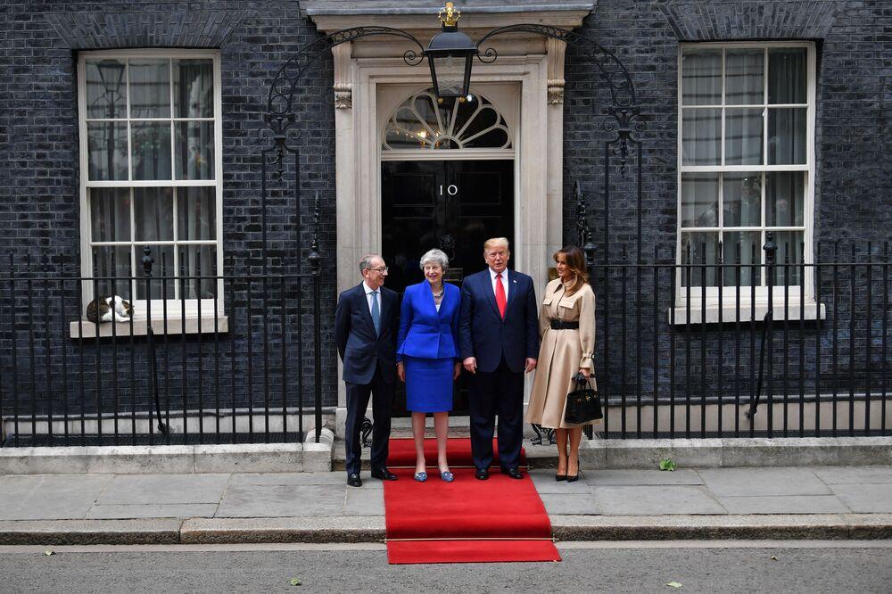 القط لاري على خلفية صورة رئيسة وزراء تيريزا ماي مع زوجها وزوج ترامب عند مدخل مقر إقامة رئيس الوزراء البريطاني في 10 داونينغ ستريت في لندن، المملكة المتحدة، 4 يونيو 2019