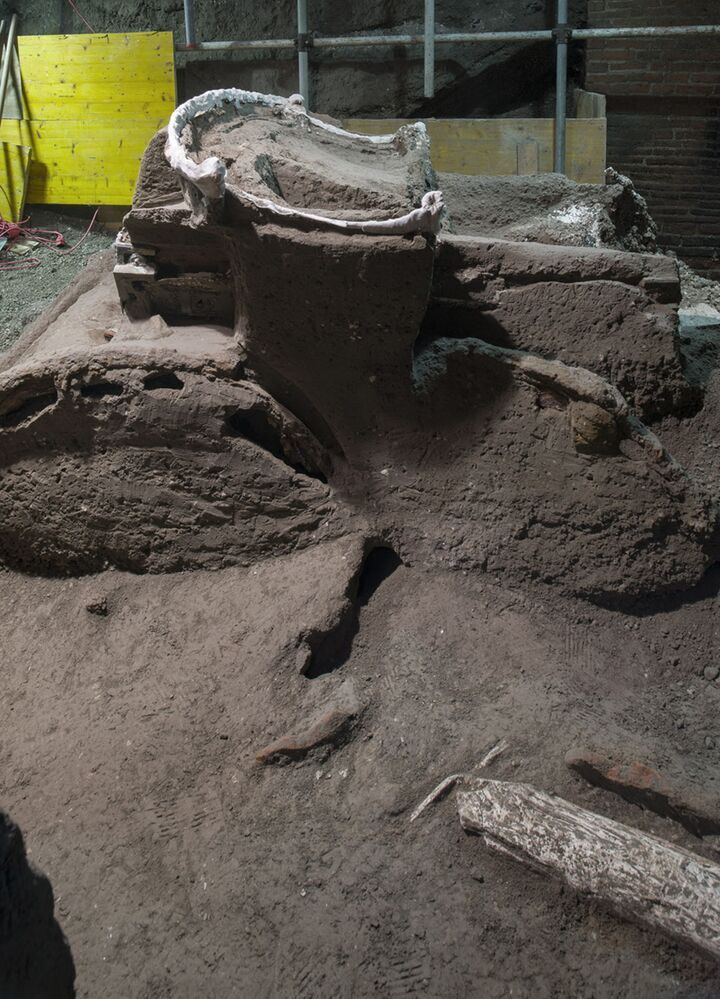 تظهر الصورة التي قدمتها الحديقة الأثرية في بومبي، يوم 27 فبراير، تفاصيل عربة رومانية كبيرة بأربع عجلات، كانت تستخدم في المراسم الاحتفالية والمناسبات، والتي تم اكتشافها بالقرب من حديقة بومبي الأثرية