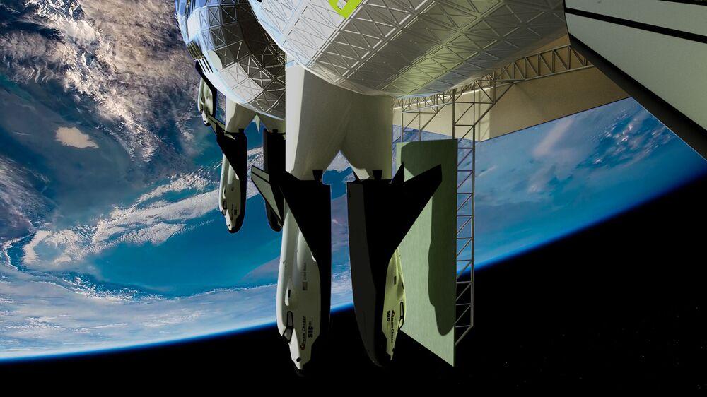 فندق فواياجير ستيشن الفضائي على خلفية كوكب الأرض