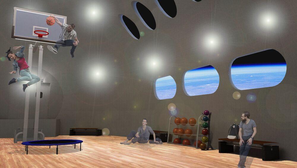 منظر يطل على كوكب الأرض من داخل صالة الرياضة في فندق فواياجير ستيشن