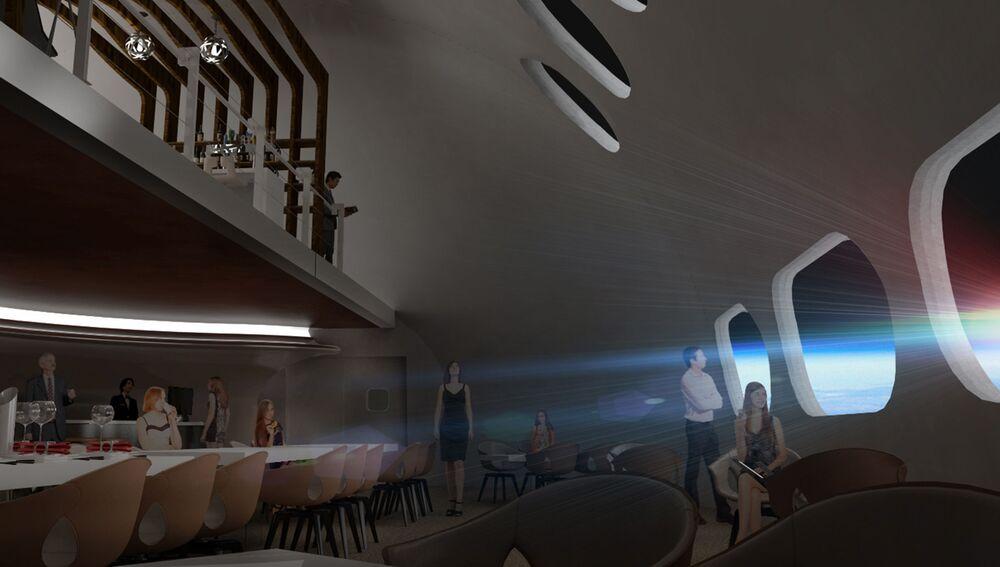 منظر يطل على كوكب الأرض من داخل مطعم في فندق فواياجير ستيشن