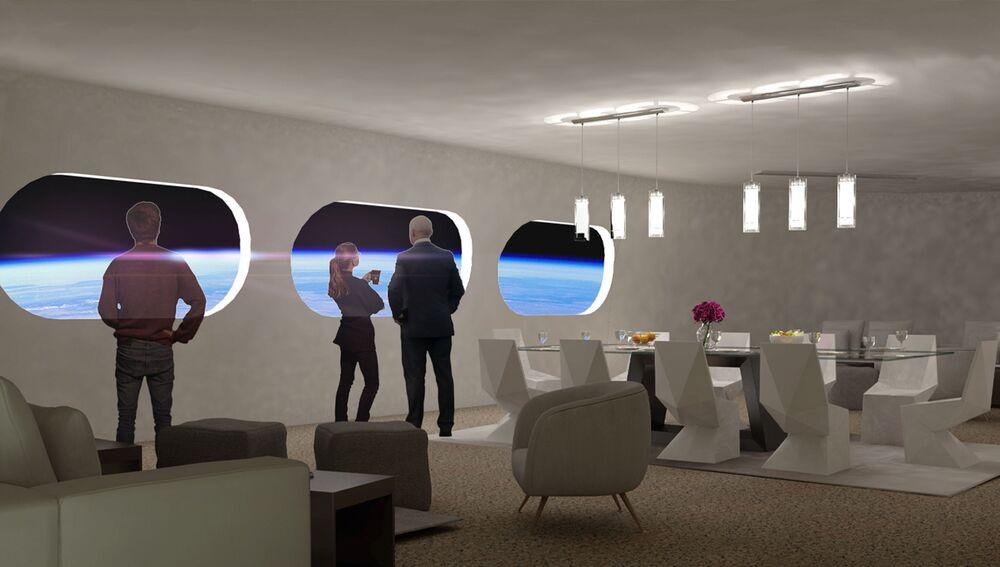 منظر يطل على كوكب الأرض من داخل غرفة الضيافة في فندق فواياجير ستيشن