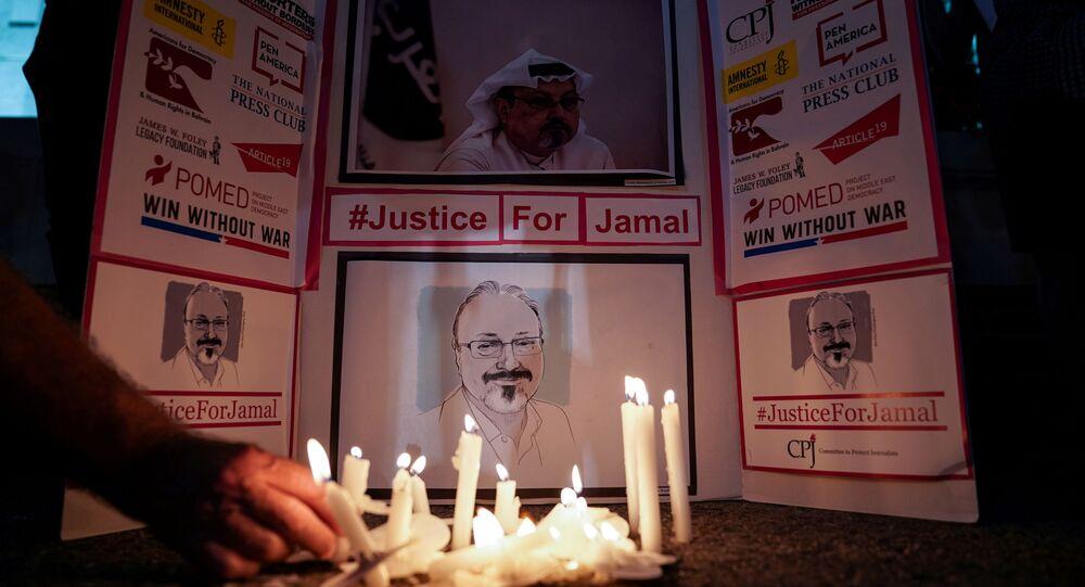 صورة الصحفي السعودي جمال خاشقجي، أمام القنصلية السعودية في واشنطن، الولايات المتحدة 2019
