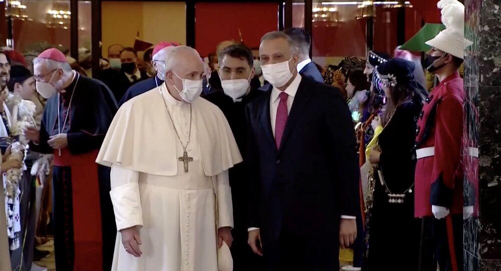 وصول البابا فرانسيس إلى بغداد، العراق 5 مارس 2021