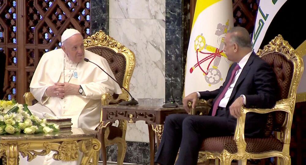 Ключевые слова: لقاء رئيس وزراء العراق مصطفي الكاظمي مع البابا فرانسيس إلى بغداد، العراق 5 مارس 2021
