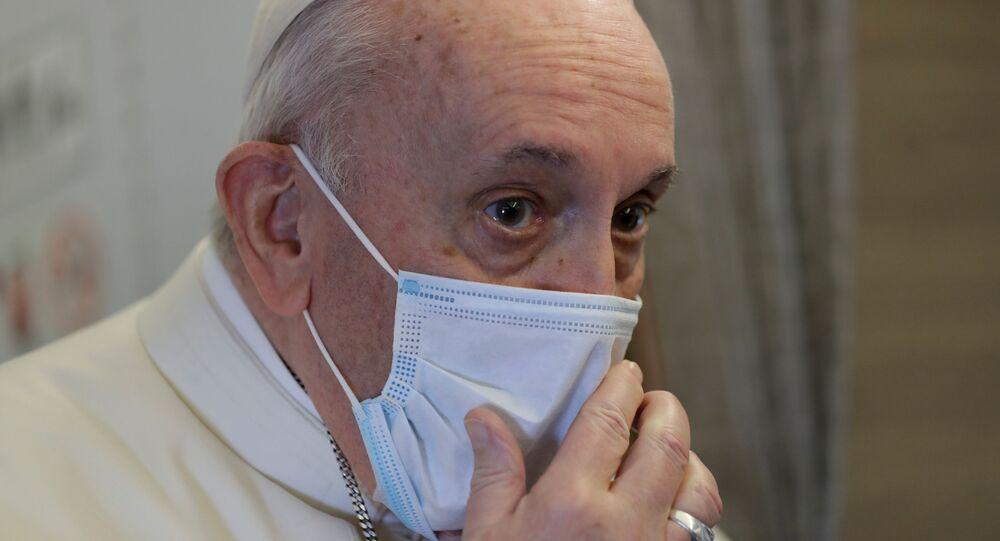 لقاء رئيس وزراء العراق مصطفي الكاظمي مع البابا فرانسيس إلى بغداد، العراق 5 مارس 2021