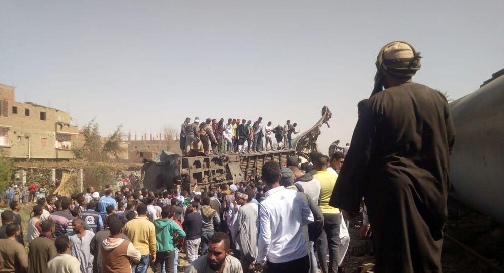 حادث اصطدام قطاري سوهاج في صعيد مصر