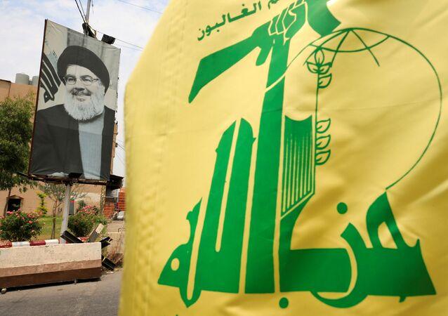 علم حزب الله اللبناني، صيدا، لبنان 7 يوليو 2020